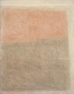 Oggetto grafico rosso e bruno, 1963, cm 100x80